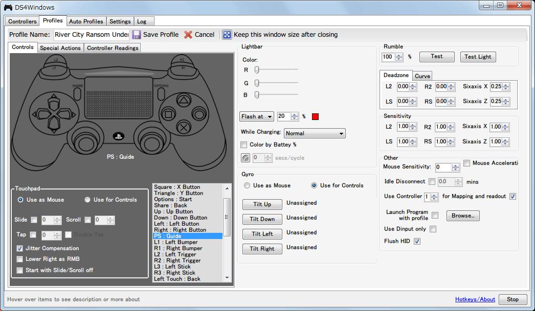 デュアルショック 4(DUALSHOCK 4) コントローラーの連射ボタン設定、ガイドボタンを使いたい場合は DS4Windows で PS ボタンに Guide ボタンを割り当てておく