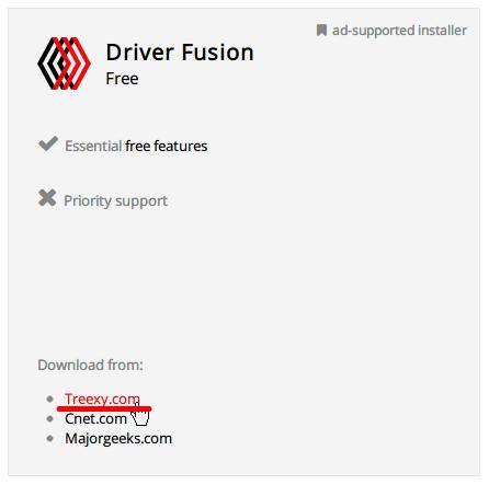 Driver Fusion 2.1 ダウンロード、ダウンロード先を選択 Download from : Treexy.com をクリック