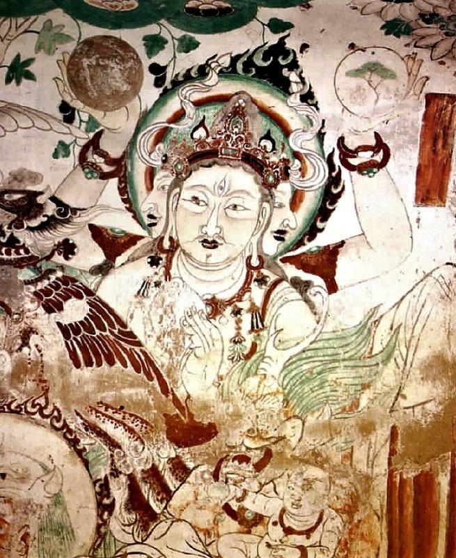 敦煌莫高窟第158窟阿修羅像壁画~法螺貝を持つ