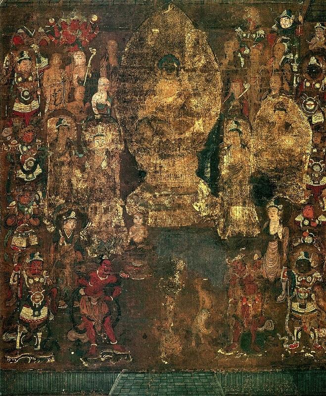 京博本・興福寺曼荼羅図(鎌倉時代)~西金堂の部分