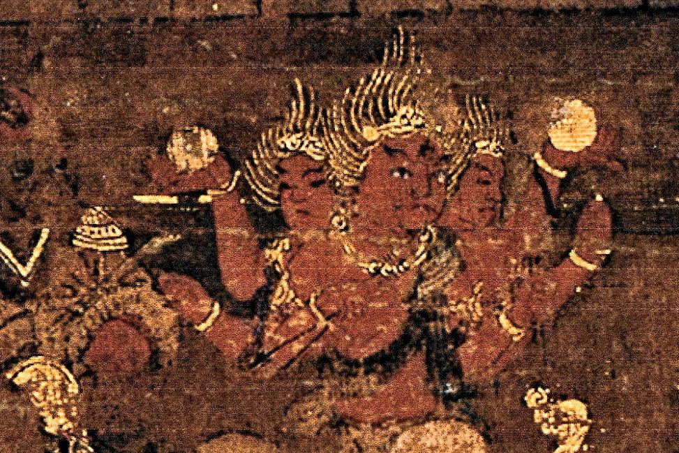 京博本・興福寺曼荼羅図~西金堂・阿修羅像の部分拡大図