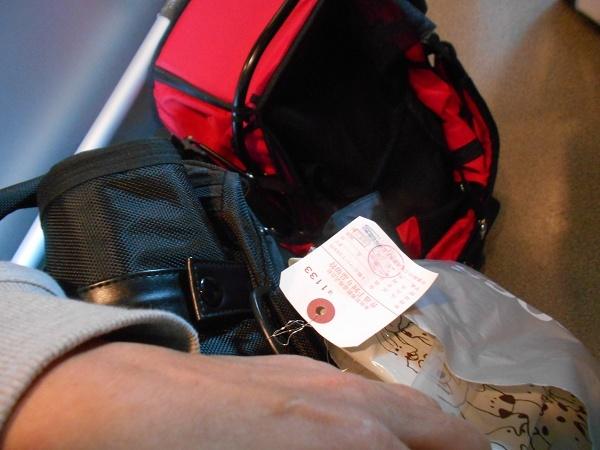 181028名古屋UP用 108名古屋UP用 101ゆずは手回り品切符をキャリーに付けて