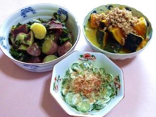170303_4476 さつま芋とワカメの風呂吹き・かぼちゃの肉そぼろ煮・胡瓜のマヨネーズと鰹節和えVGA