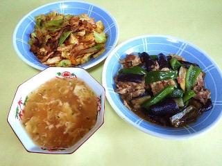 170314_4505 キャベツと豚肉のコチュジャン炒め・茄子とピーマンの肉味噌炒め・椎茸と玉子の中華スープVGA