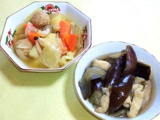 170407_4541 鶏団子と野菜の煮物・茄子と薄揚げの煮浸しVGA