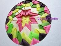 ペゲンモ 三つ折り ピンクと緑
