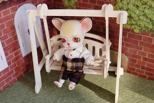 球体関節人形の動物ドール、パンジュ・ブラックルシアン、自作のお洋服で、久しぶりに登場