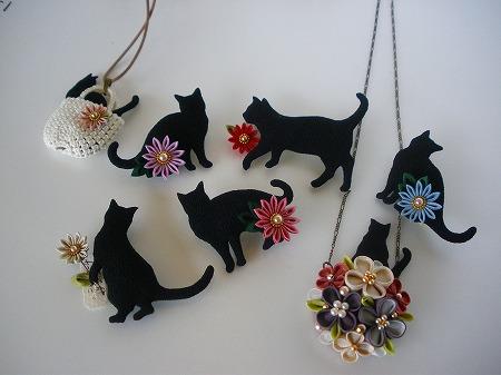 20170311 花てまり黒猫と摘み細工のアクセサリー