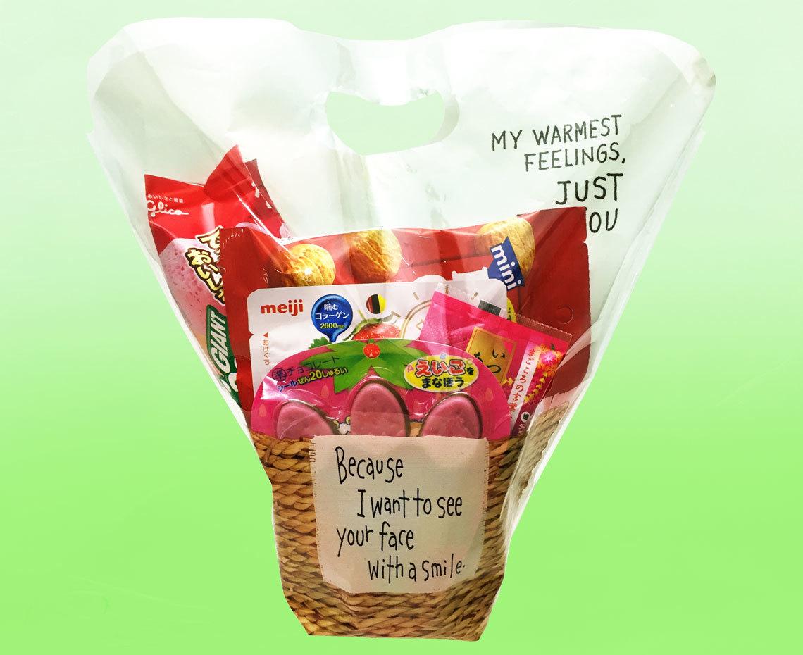 お花みたいなお菓子のバスケット【ピンク】