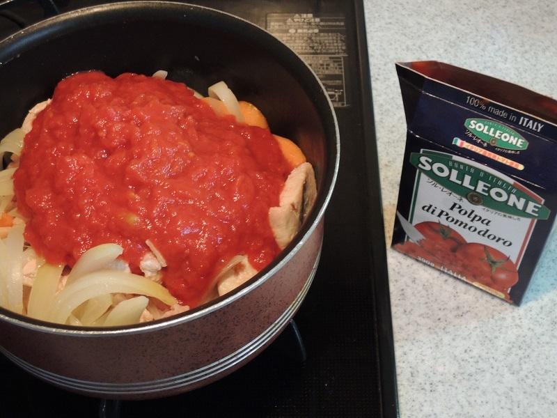 トマトの水煮も入れましょう