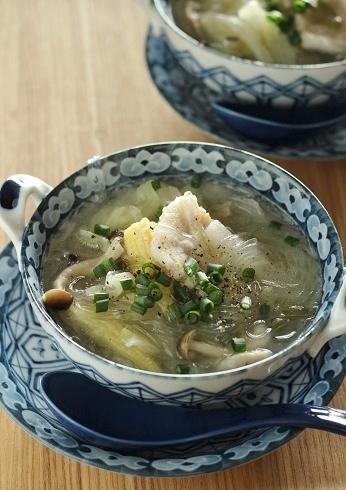 塩豚とヤングコーンと春雨のスープ
