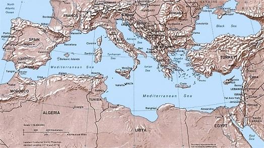 地中海のほぼ中央にあるシチリア
