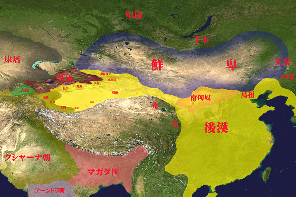 2世紀頃、鮮卑帝国とその周辺国。