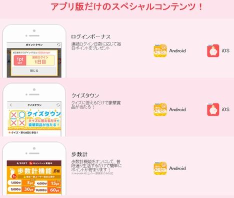 ポイントタウン アプリ版スペシャルコンテンツ