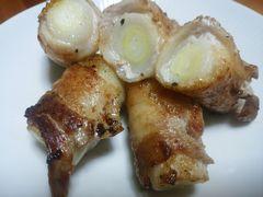 【写真】三郎さんの長ネギを豚バラ肉で巻いた肉巻き焼き