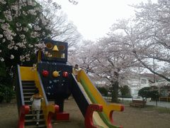 【写真】桜が満開の君津・北子安公園(通称:ロボット公園)のロボット滑り台で子供たちが遊んでいる様子