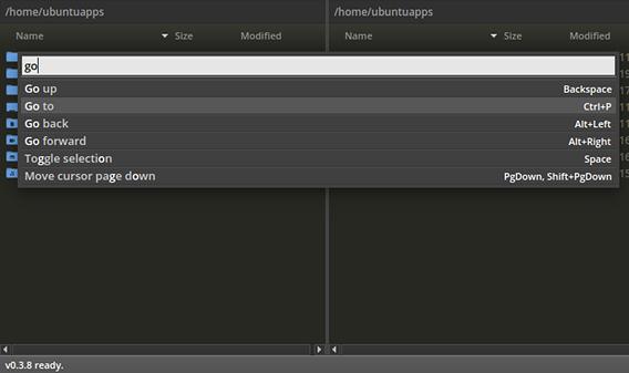 fman Ubuntu ファイルマネージャ コマンドパレット
