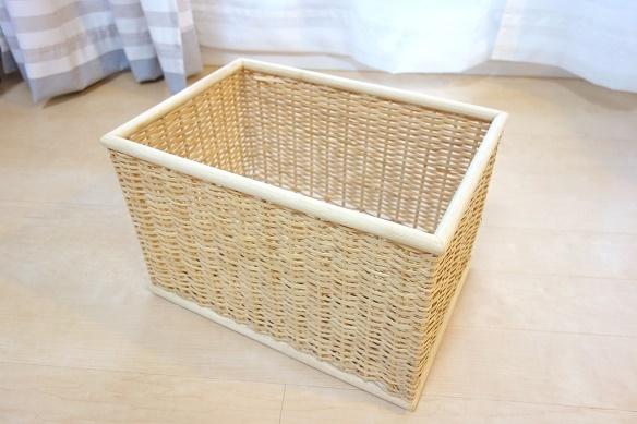 無印・重なるブリ材長方形バスケット・大②
